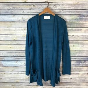 Puella Anthropologie Teal Open Front Cardigan